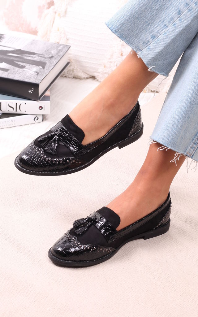 Joanie Black Patent Croc & Suede Loafers with Tassels by Linzi