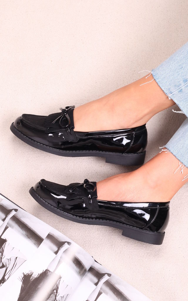 Carleen Black Patent And Suede Classic Loafer with Bow Detailing & Fringing by Linzi