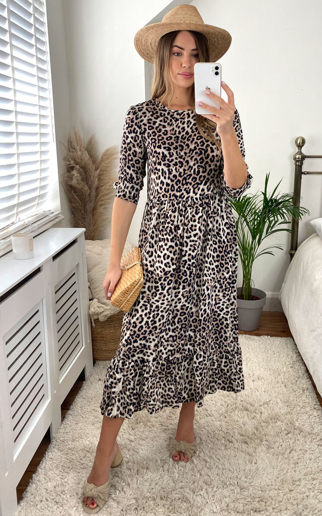 Hallie Leopard Print Midi Smock Long Sleeve Dress by Style Cheat