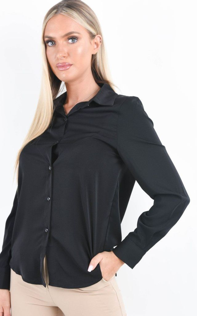 Black Long Sleeve Button Up Blouse by Boutique Store