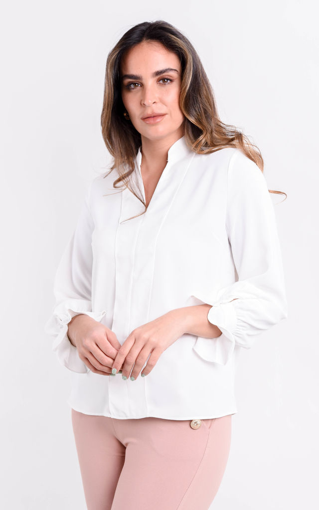 White V-Neck Long Sleeve Frill Cuff Blouse by Boutique Store