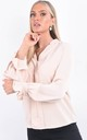 Peach V-Neck Long Sleeve Frill Cuff Blouse by Boutique Store