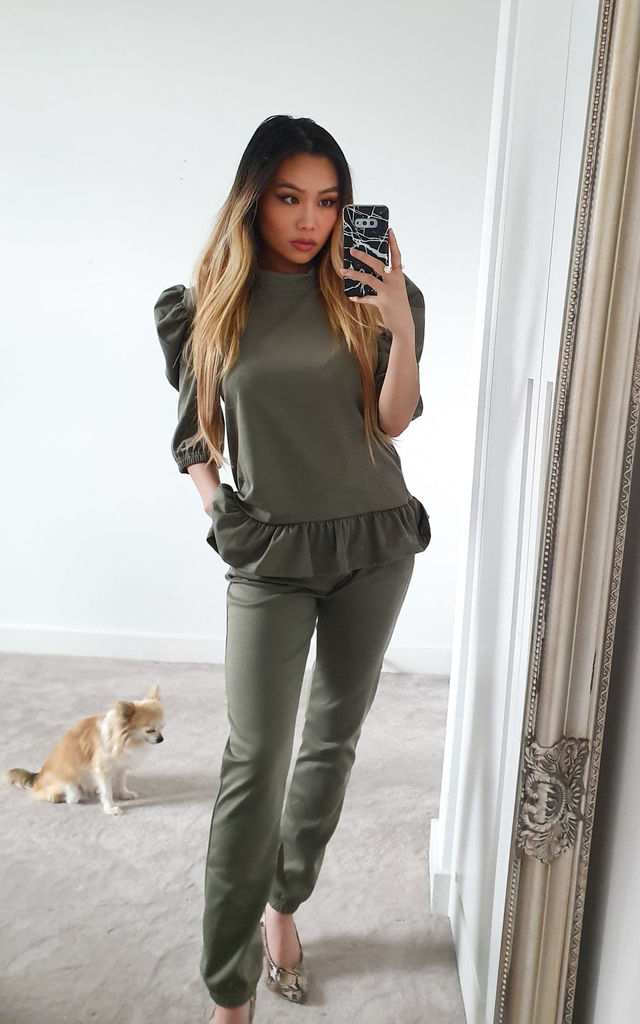 Khaki Puff Shoulder Ruffle Two piece co ord set | Top & joggers by GIGILAND UK