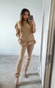 Camel Puff Shoulder Ruffle Two piece co ord set | Top & joggers by GIGILAND UK