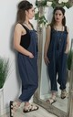 Slouch Oversized Dungarees In Dark Denim by FOXY FROX