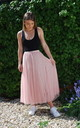Tulle Layer Skirt in Pink with Gold Stripe Waistband by LAST TRUE ANGEL