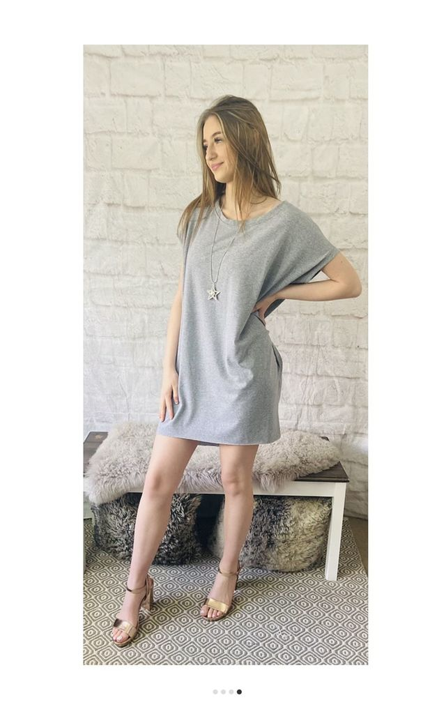 Oversized Top with Statement Necklace in Light Grey by Pink Lemonade Boutique