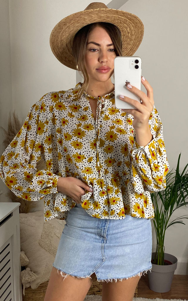 Yellow Floral Black Dot Long Sleeve Blouse by Glamorous