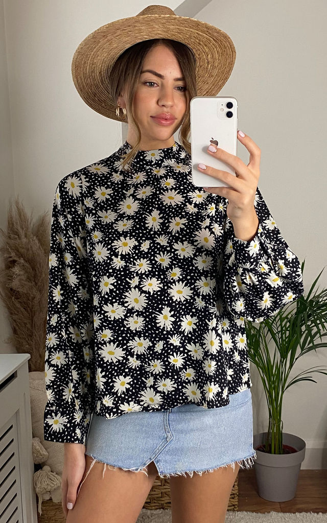 Black Dot Floral Long Sleeve Blouse by Glamorous