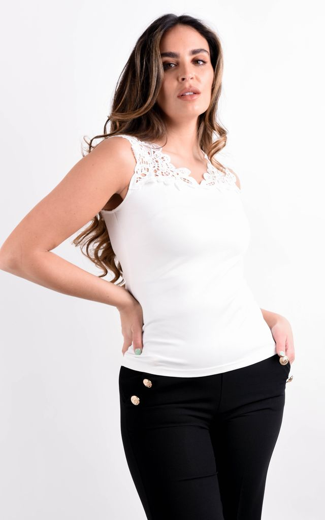 White Cutwork Embroidered Sleeveless Top by Boutique Store