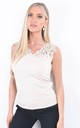Beige Cutwork Embroidered Sleeveless Top by Boutique Store