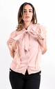 Pink Tie Neck Lace Frill Trim Blouse by Boutique Store