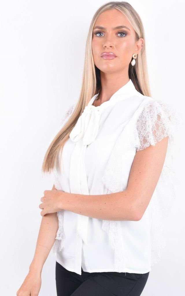 White Tie Neck Lace Frill Trim Blouse by Boutique Store