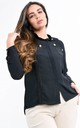 Black Front Pocket Button Detail Blouse by Boutique Store