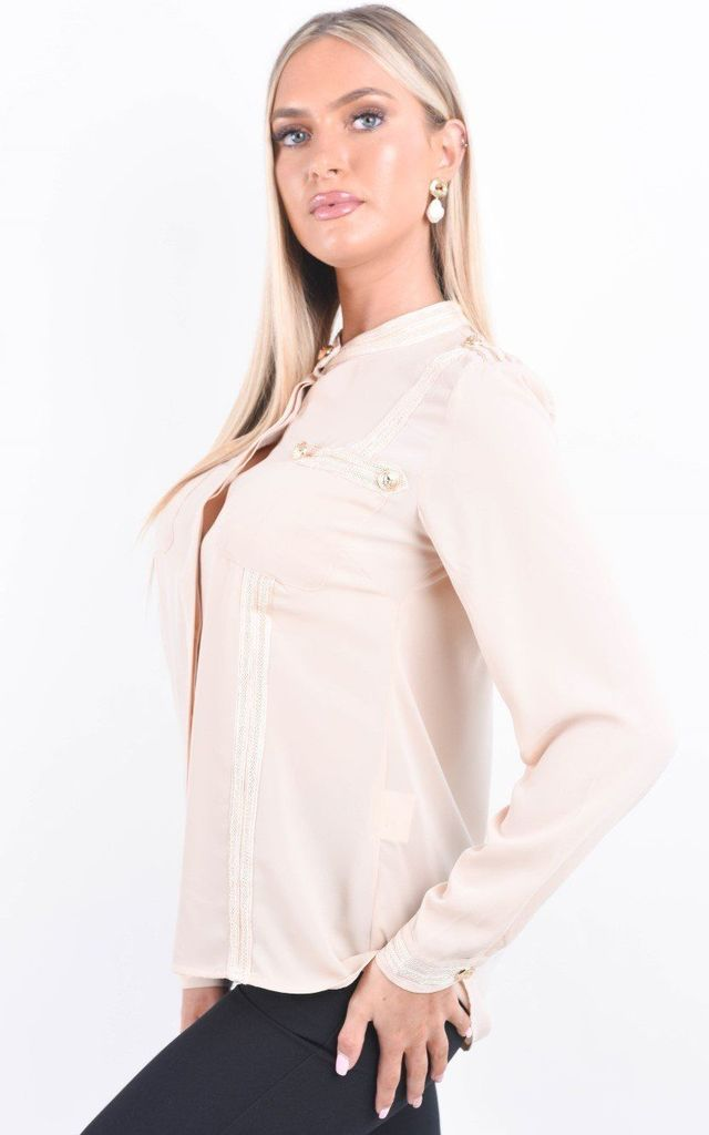 Peach Front Pocket Button Detail Blouse by Boutique Store