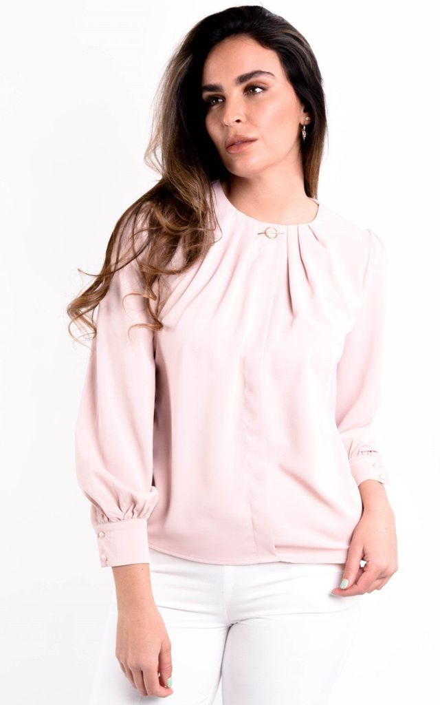Peach Long Sleeve Pleated Blouse by Boutique Store
