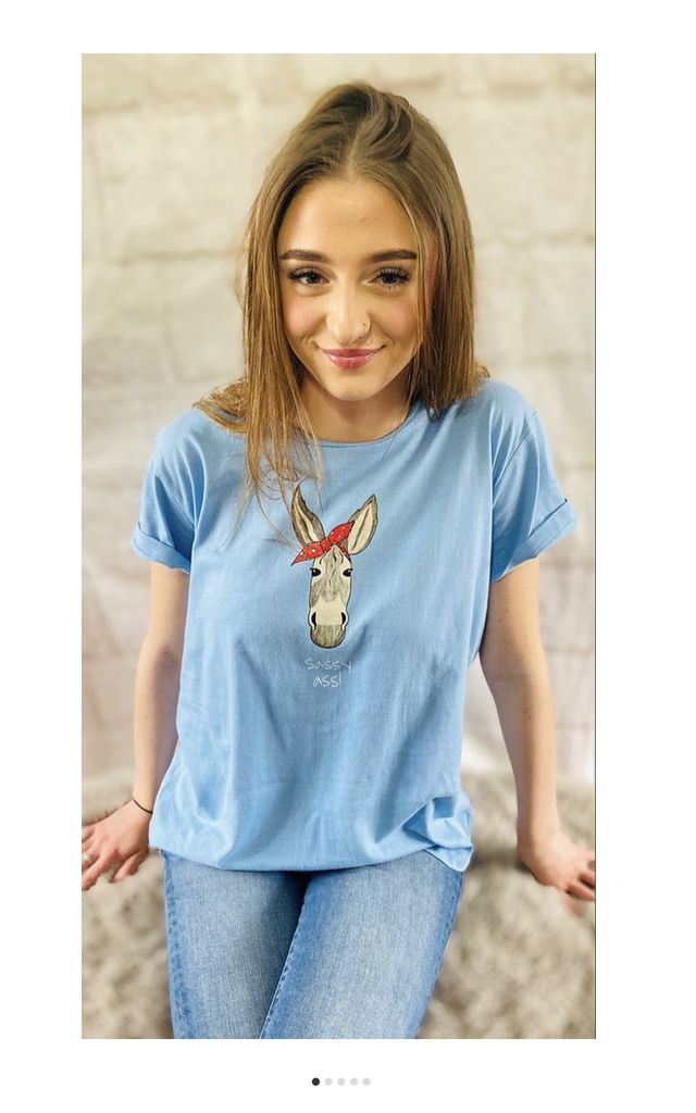'Sassy Ass!' Dee Donkey T-Shirt in Blue by Pink Lemonade Boutique