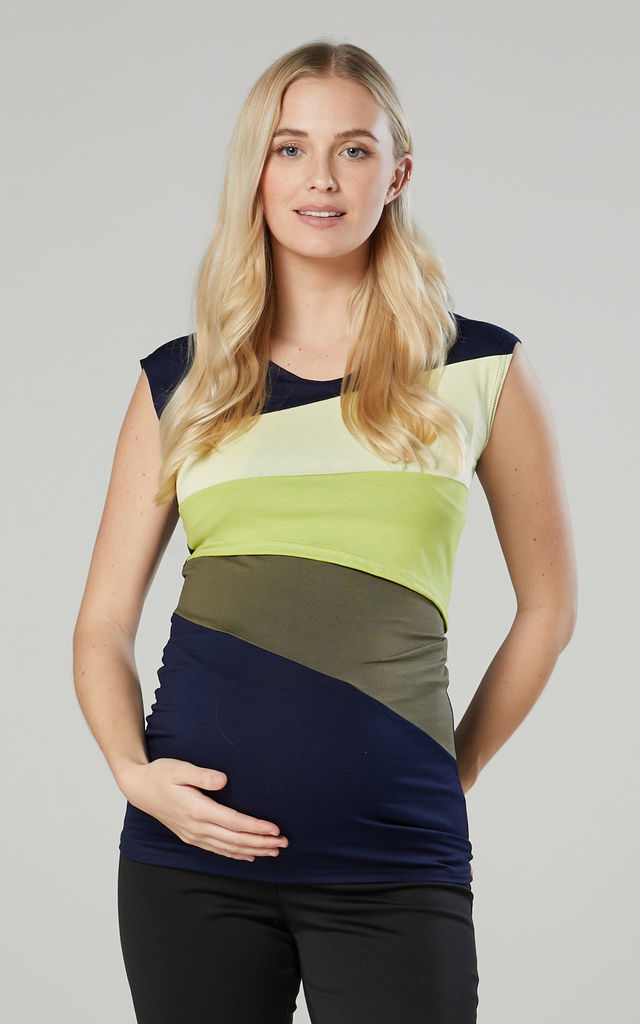 Maternity Breastfeeding Double Layer Top in Yellow by Chelsea Clark