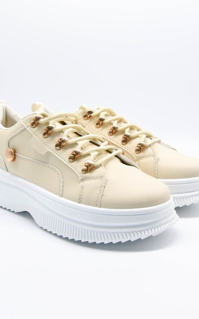 Beige Faux Leather Gold Detail Chunky Trainers by Boutique Store