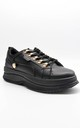 Black Faux Leather Gold Detail Chunky Trainers by Boutique Store
