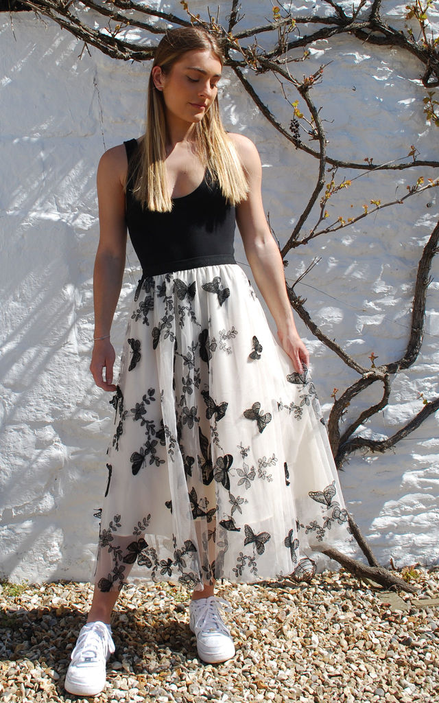 Butterfly Applique Midi Skirt in Cream and Black by LAST TRUE ANGEL