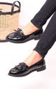 Carleen Black Patent Classic Loafer with Bow Detailing & Fringing by Linzi