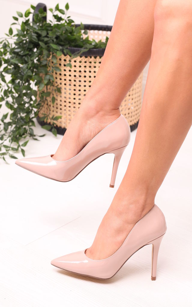 Dynamic Nude Patent Stiletto Court Heels by Linzi