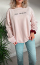 Pale Pink Tea Please Slogan Sweatshirt by Rock On Ruby