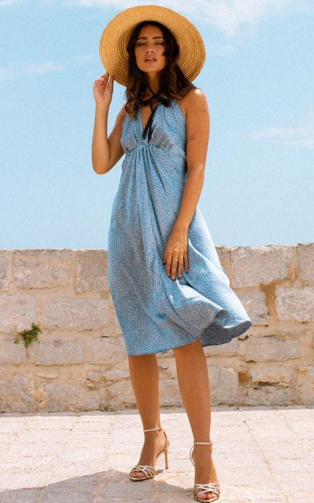 Kiara Slip Dress - Powder Blue Star by Out of the Ordinary