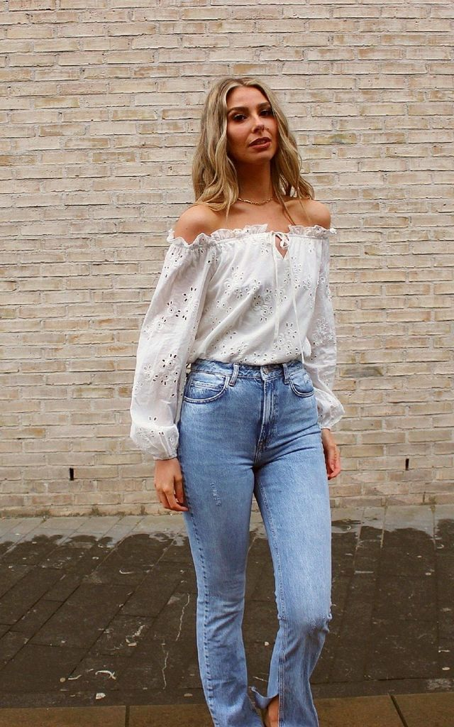 White Broderie Bardot Top by HAUS OF DECK