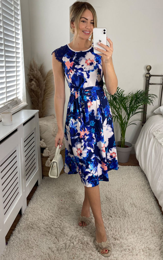 Smudgy Floral Tie Skater Dress In Blue by Yumi