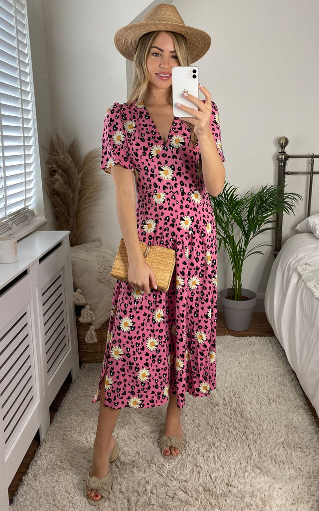 Daisy Floral Midi Dress In Pink by Yumi