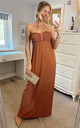 Bandeau Strapless Jersey Maxi Dress in Brown by CY Boutique